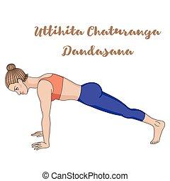 dandasana., yoga, pose., silhouette., wysoki, uttihita, chaturanga, deska, kobiety