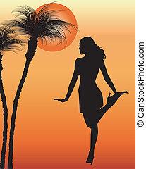 dande, silhouette, donna