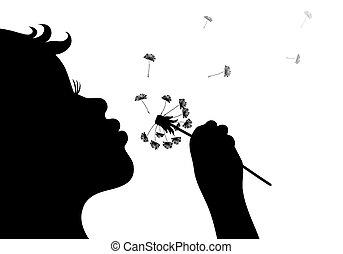 dandelio, flicka, blåsning, silhuett