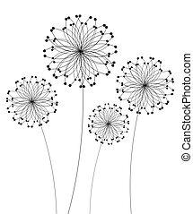 Dandelion - Abstract dandelion flowers over white. Vector...