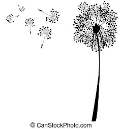 dandelion against white background, abstract vector art ...