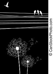 Dandelion and bird background - High contrast cables and...