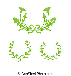 Dandelion and honeysuckle wreaths with ribbon and flowers. Vector illustration isolated on white background.