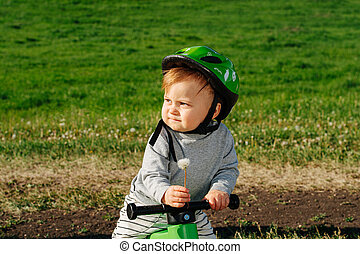 dandelion., bike., besitz, kind, mürrisch, three-wheel, he's...