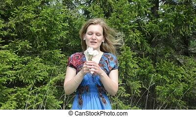 dandelion blow woman