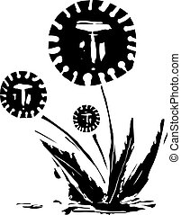 Woodcut expressionist style image of a dandelion with a covid corona and human faces