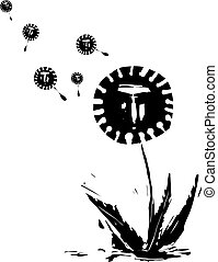 Woodcut expressionist style image of a dandelion spreading covid spores with human faces in the air.