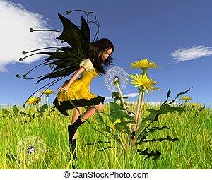 Dandelion Fairy in Springtime Field
