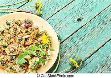 dandelion, flores, fritado