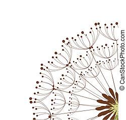 Close up of dandelion flower. Vector illustration