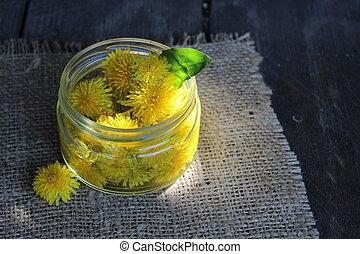 Dandelion flower in a glass jar with water.