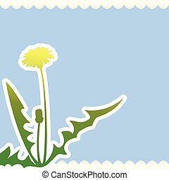 Dandelion flower on a beige background