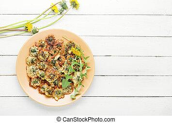 dandelion, fritado, flores