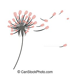 Dandelion greeting card with finger prints vector