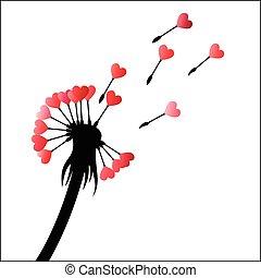 Dandelion heart seeds - Vector illustration - Dandelion...