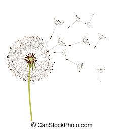 Dandelion in the wind. Vector background