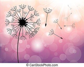 Dandelion on wind, vector background
