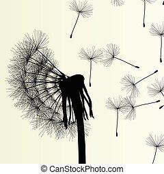 dandelion, primavera, abstratos, ilustração, vetorial, fundo