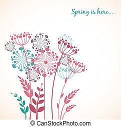 dandelion, primavera, -, vetorial, fundo, flores
