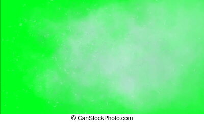 Dandelion seeds and cloud on green screen