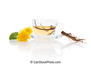 Dandelion tea background, herbal remedy. Dandelion tea,...