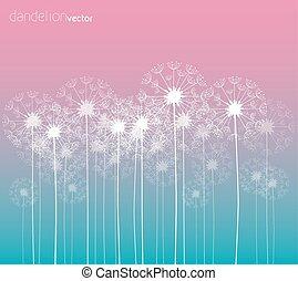 Dandelion vector background, colorful illustration