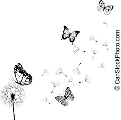 vector dandelion silhouette with butterflies