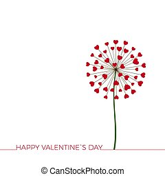 Dandelion with hearts. Happy Valentine`s day greeting card. Lovely romance flower. Congratulation with Love. Vector