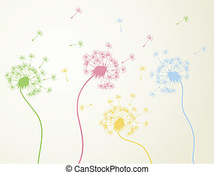 Flowers dandelions also fly seeds. A vector illustration