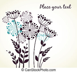 Dandelions flowers. Vector illustration