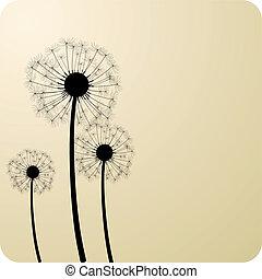 Dandelions. - Three dandelion silhouettes. Vector...