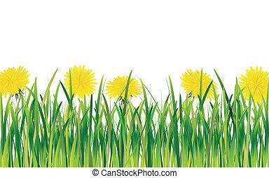 Dandelions in the Grass - Vector composition of dandelions...