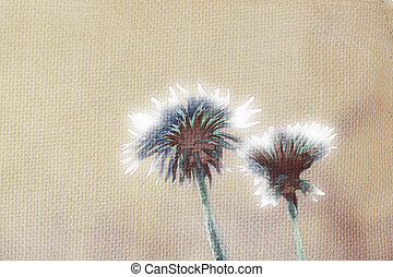 Dandelions on linen background illustration