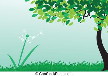 Dandelions on summer field, vector