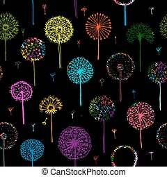 Dandelions, seamless pattern for your design. Vector...