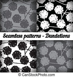 Dandelions. Set of seamless patterns. Black and white colors.