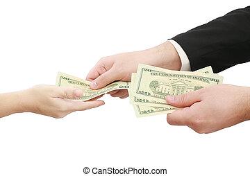 dando denaro, isolato, fondo, mani, bianco