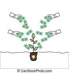 dando denaro, pianta, mani