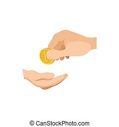 dando denaro, ricevimento, mani