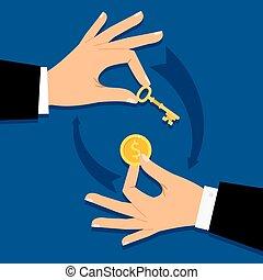 dando denaro, uomo affari, chiave, mani