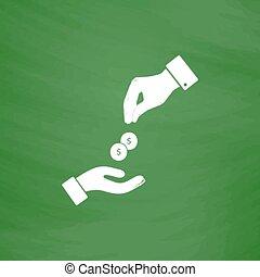 dando dinheiro, recebendo, mãos