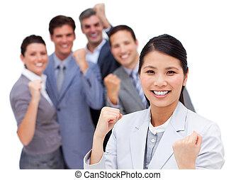 dando pugno, aria, squadra, celebrazione, affari, multi-etnico