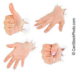 dando pugno, carta, attraverso, mani