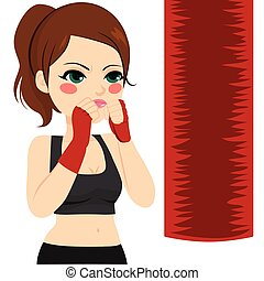 dando pugno, donna, kickboxing