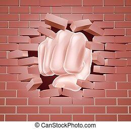 dando pugno, parete, mattone, attraverso, pugno