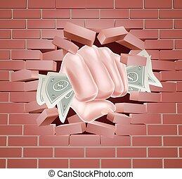dando pugno, soldi, attraverso, pugno, parete
