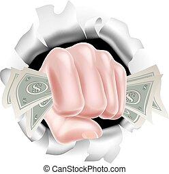 dando pugno, soldi, pugno, contanti, fondo