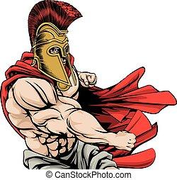 dando pugno, spartan, mascotte