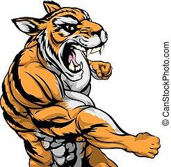 dando pugno, tiger, mascotte