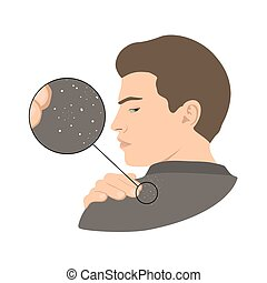Dandruff issue on man s shoulder. Close up view. Vector illustration.